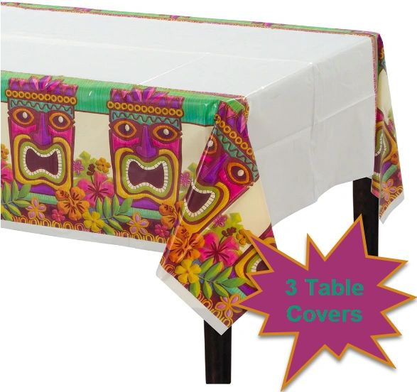 Tropical Tiki Plastic Table Cover, 3ct