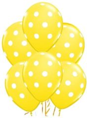 Yellow Dots Latex Balloons, 6ct