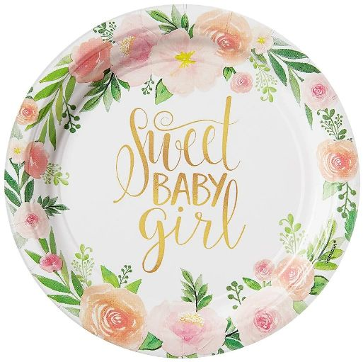 "Floral Baby Dessert Plates, 7"" - 8ct"