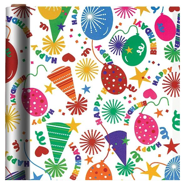Printed Jumbo Birthday Party Hat Gift Wrap, 16ft