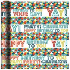 Birthday Triangles Printed Jumbo Gift Wrap, 16ft