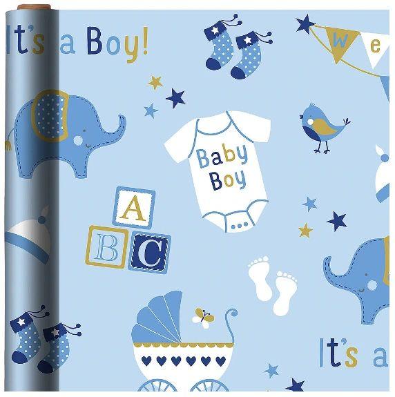 Printed Jumbo Baby Boy Elephant Gift Wrap, 16ft