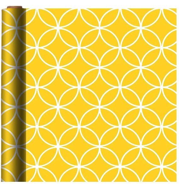 Sunshine Yellow Overlapping Circles Gift Wrap