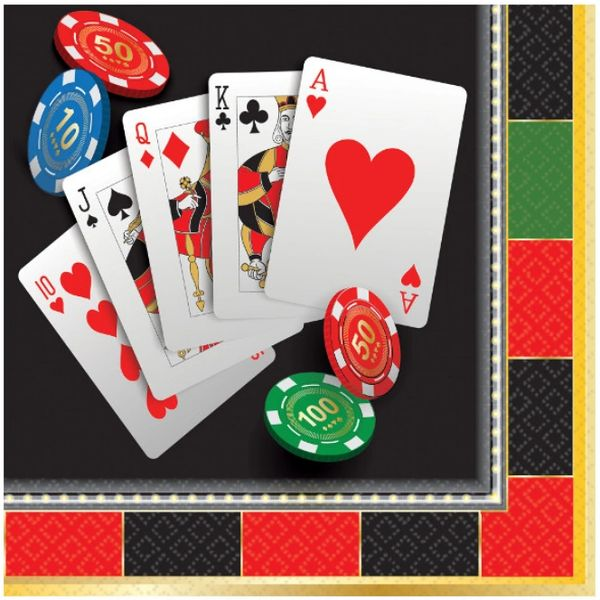 Roll the Dice Casino Beverage Napkins, 16ct