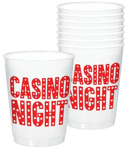 Roll the Dice Casino Frosted Stadium Cups, 14oz - 8ct