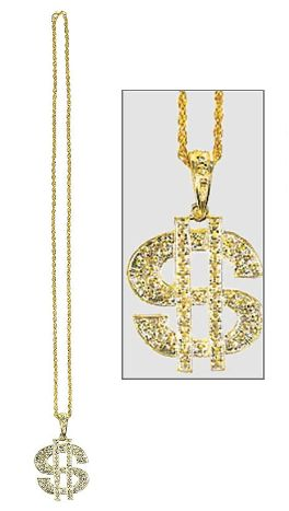 Gold Dollar Sign Pendant Bead Necklace
