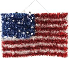 Deluxe Tinsel American Flag Sign