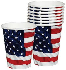 Flying Colors American Flag Cups, 9 oz - 8ct