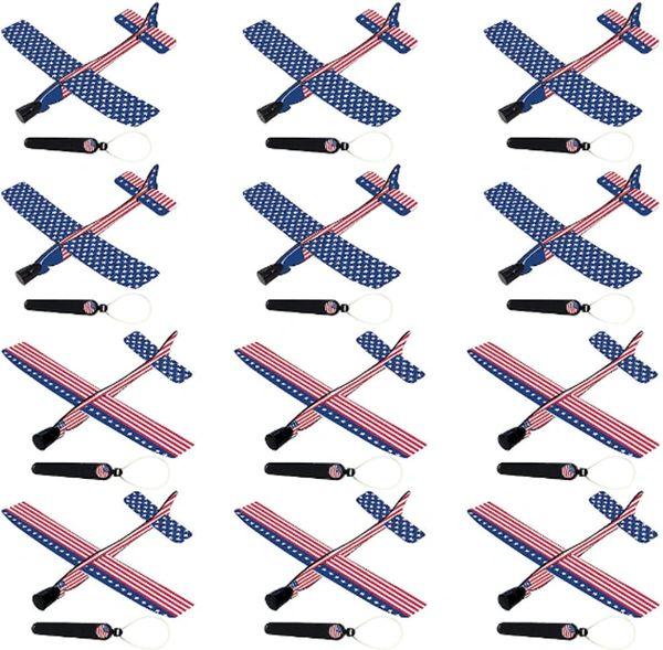 Patriotic American Flag Gliders, 12ct