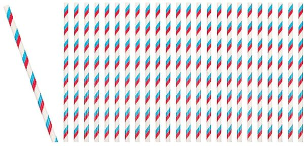 Paper Straws w/Stripes - Red, White, Blue, 24ct