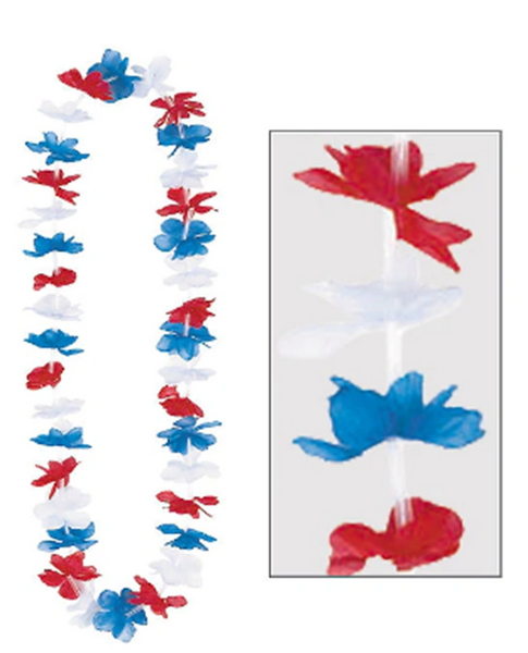 Patriotic Red, White & Blue Flower Lei