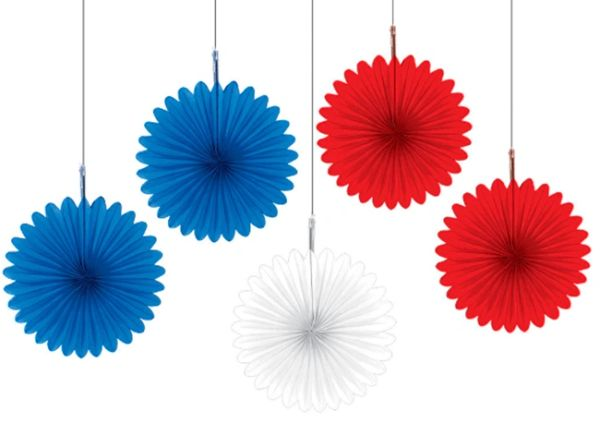 Patriotic Mini Paper Fan Assortment, 5ct