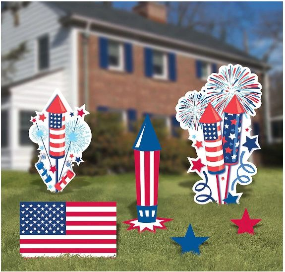 Patriotic American Flag Yard Signs, 6ct