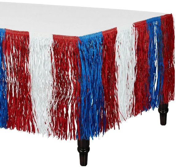Patriotic Red, White & Blue Fringe Table Skirt