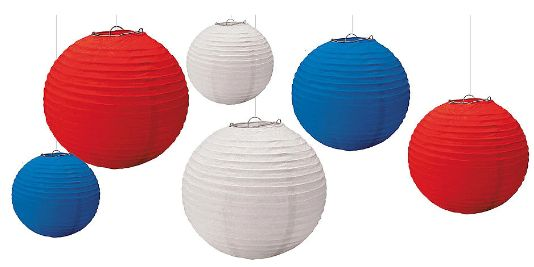 Patriotic Red, White & Blue Paper Lanterns, 6ct