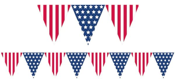 Patriotic Pennant Banner, 12ft