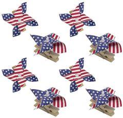 Patriotic American Flag Pinwheel Clips, 8ct