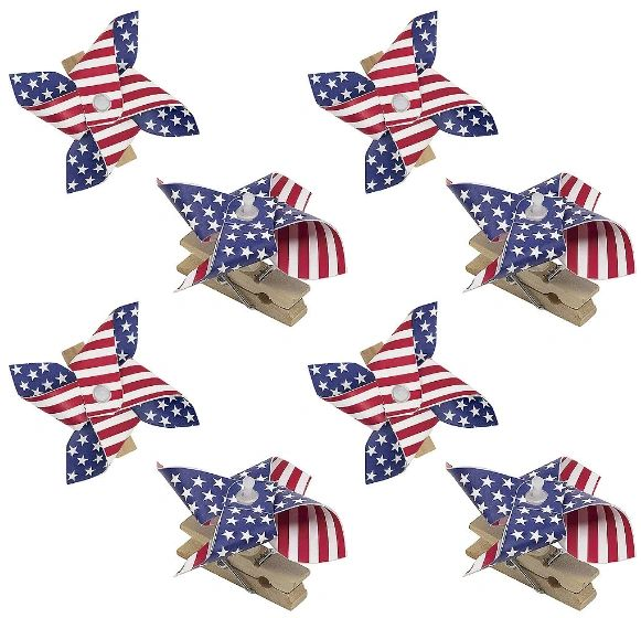 Patriotic Pinwheel Clips, 8ct