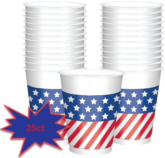 Patriotic American Flag Cups, 16oz - 25ct