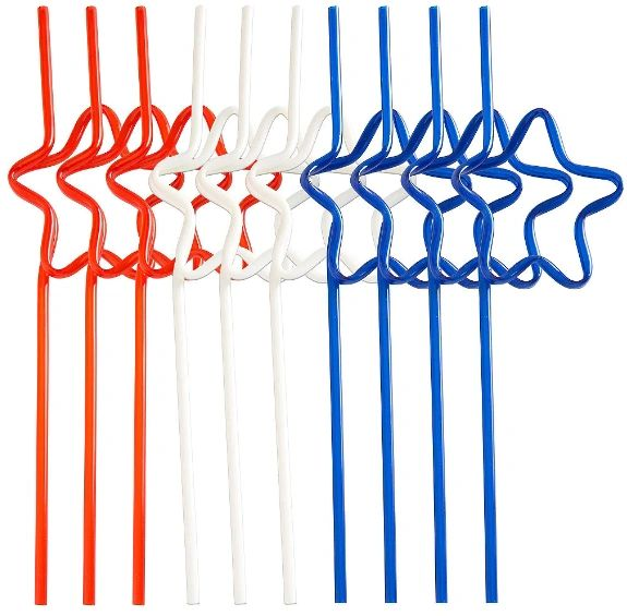 Patriotic Star Shaped Plastic Straws, 10ct