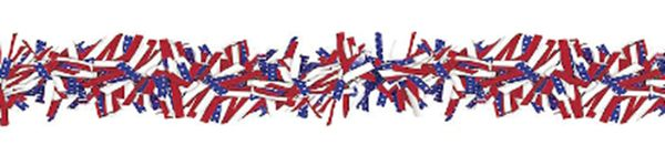 Patriotic Stars & Stripes Boa Garland, 15ft