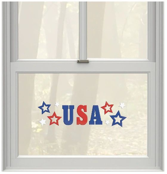 Patriotic Red, White & Blue Gel Cling Decals, 10ct