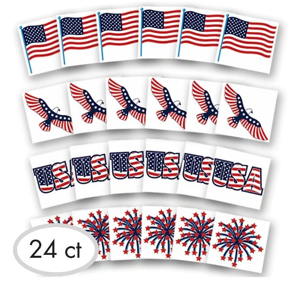 Patriotic Tattoo Favors, 24ct