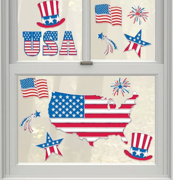 Patriotic American Flag Cling Decals, 14ct
