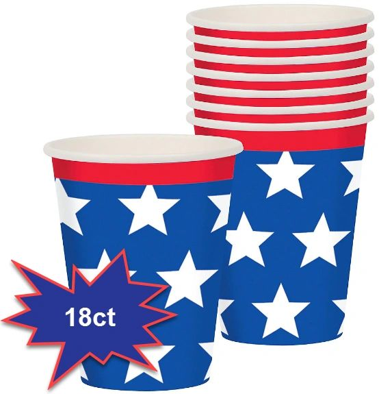 Red, White & Blue Patriotic Cups, 9oz - 18ct