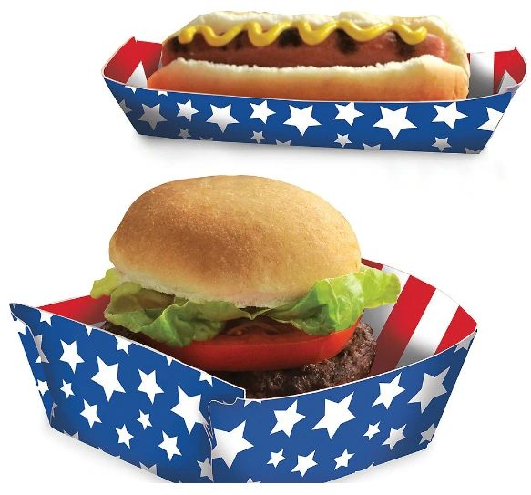 Red, White And Blue Paper Food Trays, 16ct