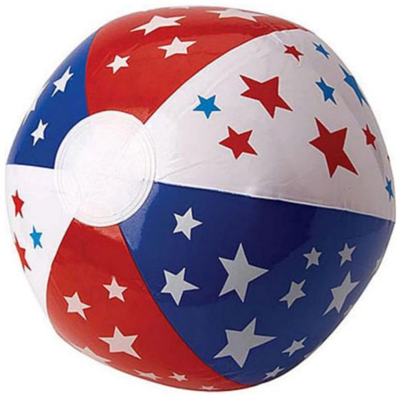 Patriotic Red, White & Blue Beach Ball