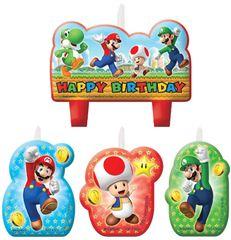 Super Mario Birthday Candles, 4ct