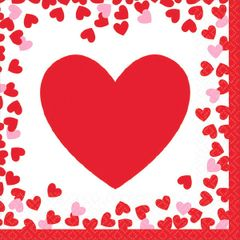 Confetti Hearts Beverage Napkins, 16ct