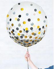 """Latex Balloons w/ Confetti - Black/Silver/Gold, 24"""" - 2ct"""
