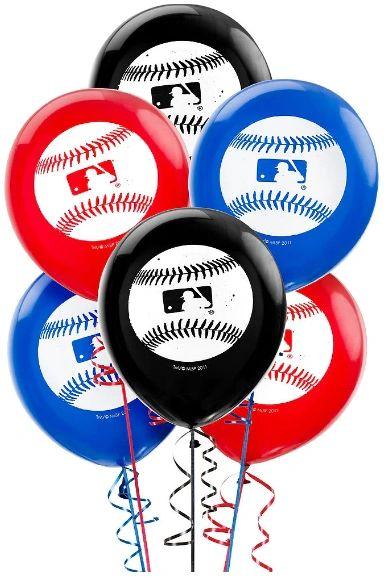 MLB Baseball Latex Balloons, 6ct