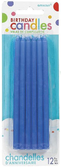 Tall Blue Birthday Candles, 12ct