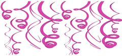 Bright Pink Plastic Swirl Decorations, 12ct