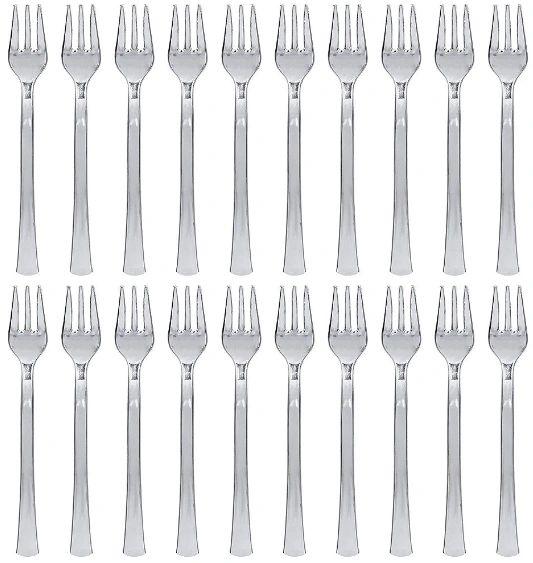 Mini Silver Plastic Forks 30ct