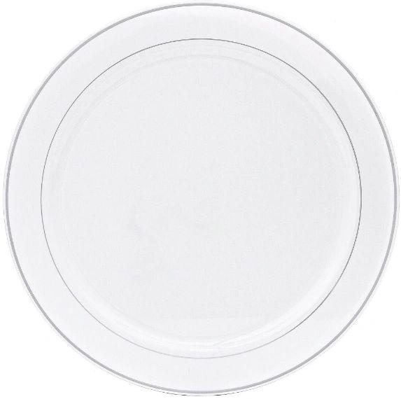 """White Tray w/Silver Trim Platter, 16"""""""
