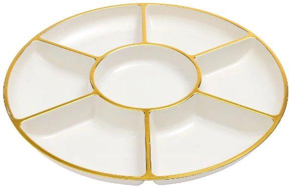 """Compartment Tray - Cream w/Gold, 16"""""""