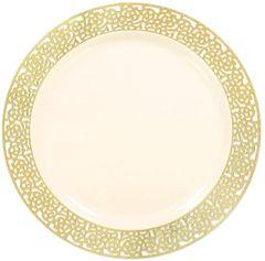 """Cream w/Gold Lace Border, Premium Plastic Dinner Plates, 10"""" - 10ct"""