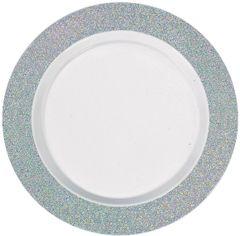 "White Prismatic Silver Border Premium Plastic Dinner Plates, 10"" - 10ct"