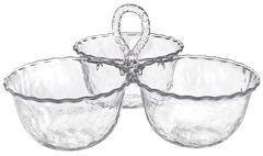CLEAR Premium Plastic Hammered 3-Part Serving Bowl