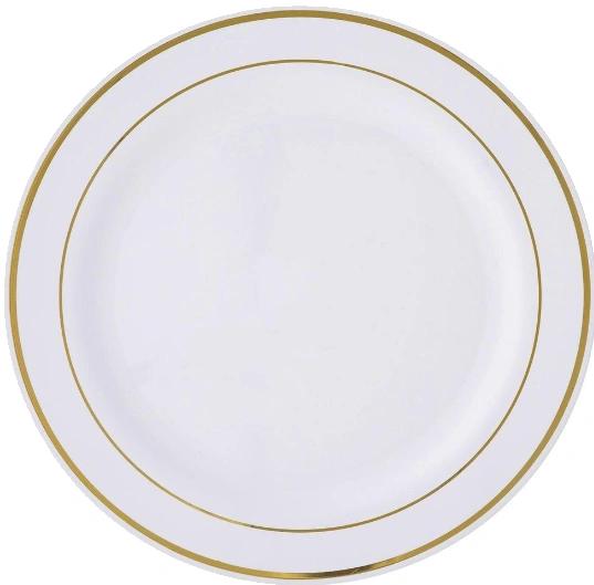 "Premium Plastic White Buffet Plates w/Prismatic Gold Border, 12"" - 10ct"
