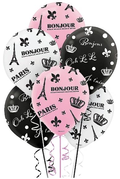 Day in Paris Printed Latex Balloons - Asst. Colors, 6ct