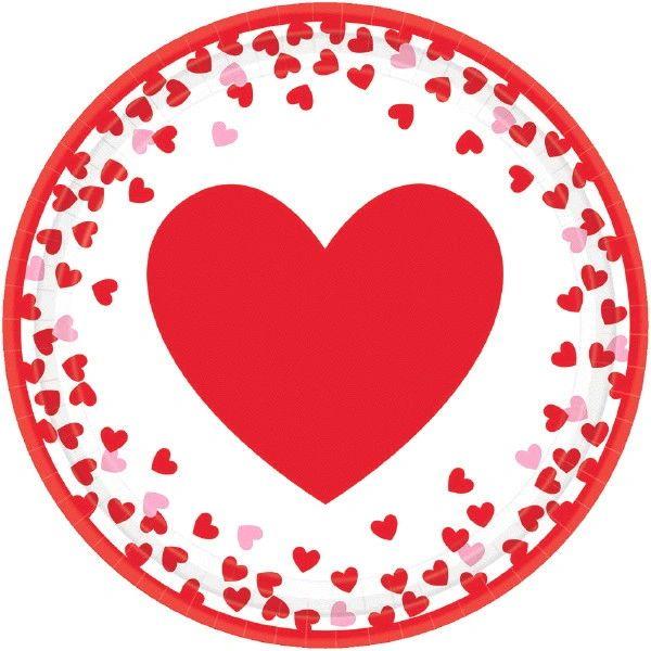 """Confetti Hearts Round Lunch Plates, 9"""" - 8ct"""