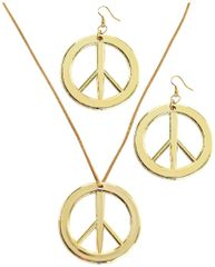 60s Peace Pendant & Earring Set