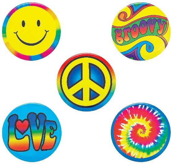 60s Hippie Buttons, 5ct
