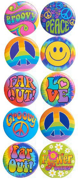 Tie-Dye 60's Buttons, 10ct