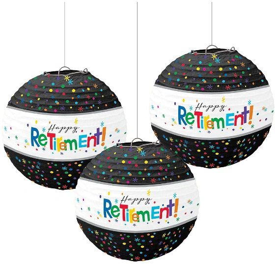 Happy Retirement Celebration Paper Lanterns, 3ct